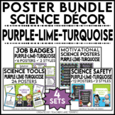 Science Classroom Poster Bundle in Purple, Lime, and Bright Turquoise