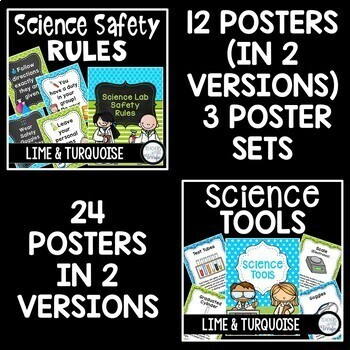 Science Classroom Decor Mega Bundle in Turquoise and Lime