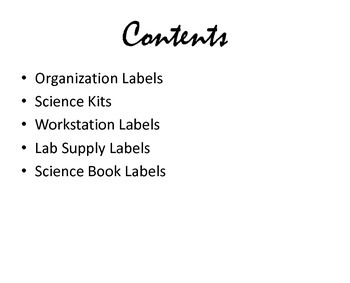 Science Classroom Labels