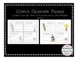 Science Classroom Passes (Homework and Bathroom)