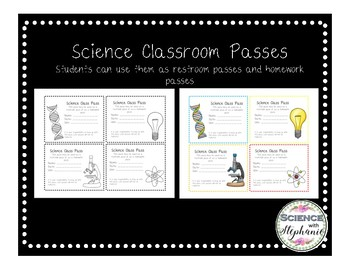 Science Classroom Passes (Homework and Bathroom)