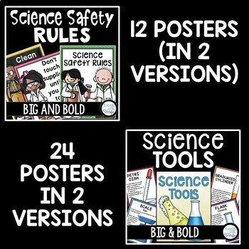 Science Classroom Poster Bundle in Big and Bold Colors