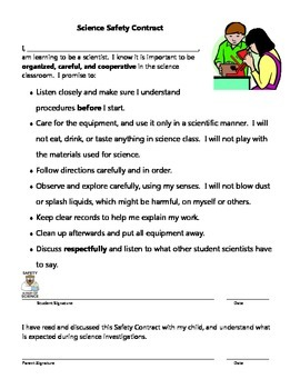 Science Classroom Safety Contract