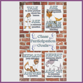 Science Classroom Student Participation Goals Poster Set