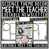 Science Theme Welcome Back to School Letters Editable: Meet The Teacher Template