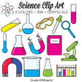 Realistic Science Clip Art: Beakers Flasks Microscopes Mag