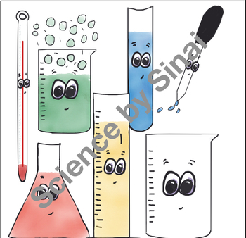 Fun Whimsical SCIENCE LAB EQUIPMENT CLIPART Glassware Color and Black line