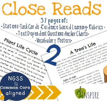 Science Close Read Plant Life Cycle and A Tree's Life Text Dependent Bundle