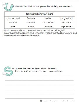 Science Close Reading Animal Traits and Behavior Evidence & Text Dependent Pack