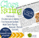 Science Close Reading Animal Traits and Behavior Evidence