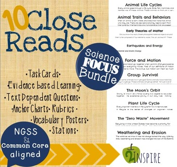 Science Close Reading Bundle- Evidence and Text-Dependent Activities
