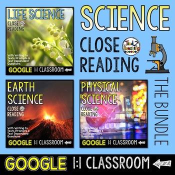 Science Close Reading Google Classroom Activities BUNDLE