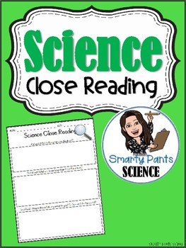 Science Close Reading Graphic Organizer