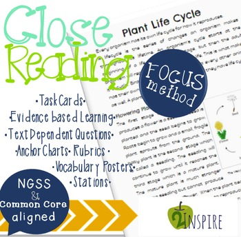 Science Close Reading Plant Life Cycle Evidence & Text Dependent  Packet