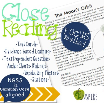 Science Close Reading The Moon's Orbit  Evidence & Text-Dependent Packet