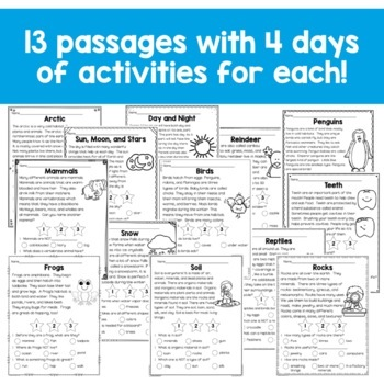 First Grade Close Reading Comprehension Passages and Questions: Winter Edition