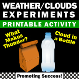 Cloud in a Bottle Science Experiments, Thunderstorm Lab,  Weather Unit