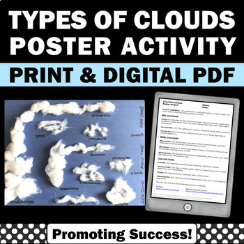 Weather Unit Types of Clouds Art Poster Project and Gradin