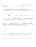 Middle School Science Cloze Worksheet - Characteristics of Life