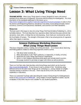 Science Clubhouse Workshop – Kindergarten: What Living Things Need