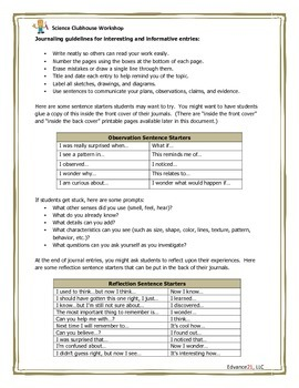 Science Clubhouse Workshop: Science and Engineering Journal Template
