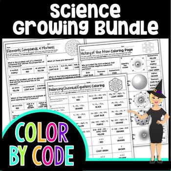 SCIENCE COLORING PAGES, QUIZZES - GROWING BUNDLE!
