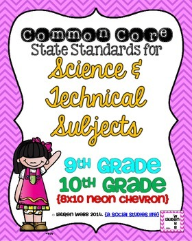 9th and 10th grade Science Common Core Standards Posters