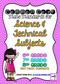 6th, 7th, and 8th grade Science Common Core Standards Posters