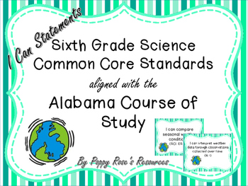 Science Common Core Standards aligned with the  Alabama Co