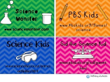 Science Website Option Cards