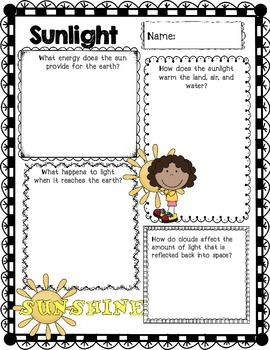 2nd Grade Science Concept Posters 2.E.1  Sunlight Weather Weather Tools