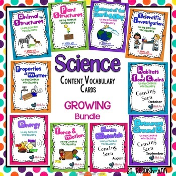 Science - Content Vocabulary Cards: GROWING Bundle
