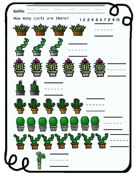 Science Counting Worksheets - Cacti