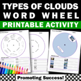 Types of Clouds Word Wheels, Science Interactive Notebook Craftivity