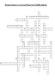 Science Crossword Puzzles for Middle School - Number 1