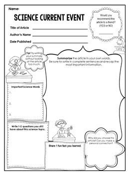 Current Event Worksheet - Science