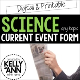 Science Current Event Worksheet - Printable and Distance Learning