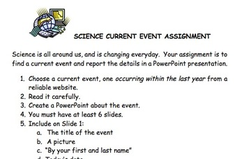 Science Current Event PowerPoint Assignment