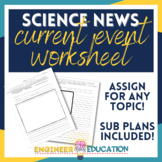 Science Current Event Worksheet: Engaging No-Prep Lesson P