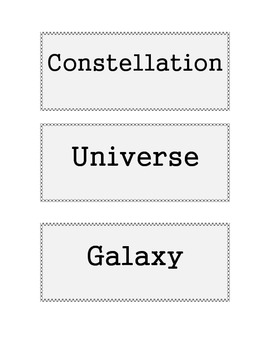 Science Cut & Paste Vocabulary Cards:  The Universe