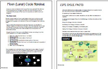 Lunar, Water, Nitrogen and Life Cycles Projects & Science Vocabulary