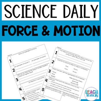 Science daily review teaching resources teachers pay teachers science daily force and motion science daily force and motion fandeluxe Images