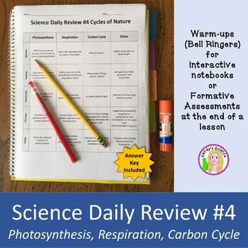 Science daily review teaching resources teachers pay teachers science daily review 4 photosynthesis respiration carbon cycle fandeluxe Images