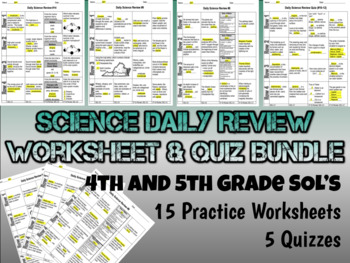 Science Daily Review Worksheet & Quiz Bundle - 4th & 5th G