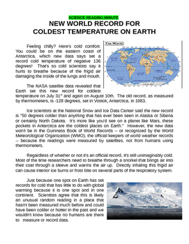 Science Data Graph (USA Coldest Temperatures)