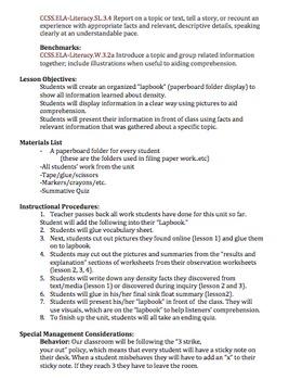 Science Density & Literacy Unit 3rd Grade