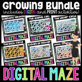 Science Digital Mazes for Distance Learning Growing Bundle