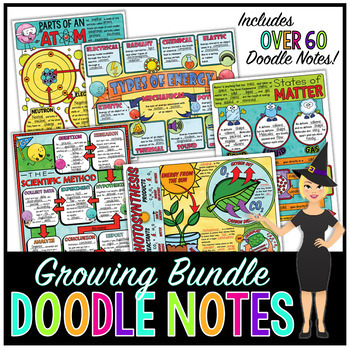 SCIENCE DOODLE NOTES, INB, ANCHOR CHARTS, & QUIZ - GROWING BUNDLE!