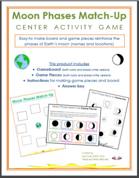 Science- EARTH'S MOON PHASES GAME for Learning Center Prac