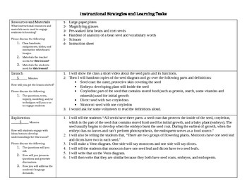Science EDTPA lesson plan on seeds